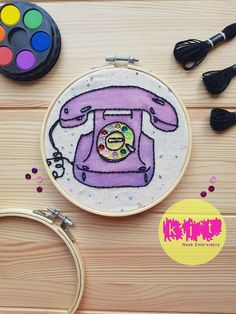 DIY Beginners Starter Embroidery Kit: Phone | Embroidery Kit with Pattern | Embroidery Pattern, Modern Embroidery Kit, Embroidery Hoop Brush Embroidery, Embroidery Needles, Modern Embroidery, Embroidery Patterns, Time Shop, Printing On Fabric, Needlework, Hoop, Fancy