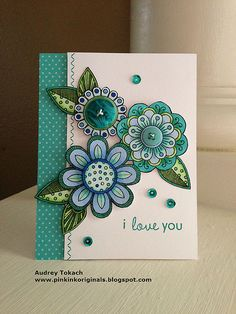 handmade card ... Embroidered Inspiration from felt flowrs ... greens and blues ... Doodled Flowers ... awemsome card!