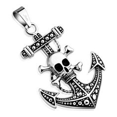 Vintage Stainless Steel Jewelry Pirate Skull Anchor Chain Pendant Necklace