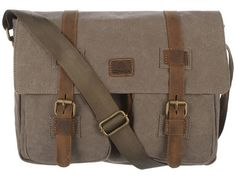 Conkca - London 'Borough' Otter Brown Canvas & Leather Messenger Bag from PureLuxuries.com. £55.00
