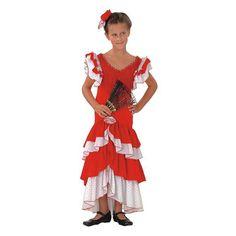 Excelente relación calidad precio en este disfraz de flamenca, sevillana o faralae para niña compuesto por vestido y tocado. Ideal para comparsas en carnaval, la feria de Abril y fiestas de final de curso en colegios. #disfraces #feriadeabril