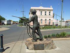Miner's statue in Boulder, Kalgoorlie-Boulder, Western Australia, erected in 1984