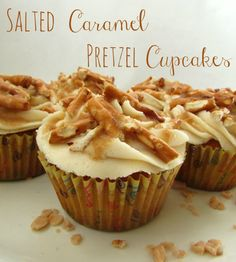 Yummy salted caramel pretzel cupcakes! #recipe #cupcakes