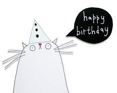 Chat carte carte d'anniversaire des amoureux du chat par poosac