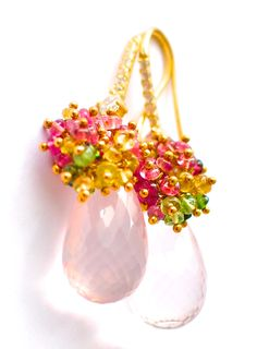Luxury Rose Quartz Earrings with Tiny Gemstone
