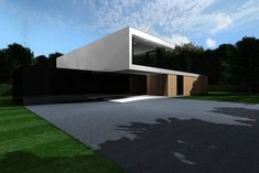icoon.be architecten minimalist house white ribbon wood facade brasschaat