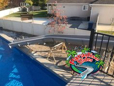 Here is a Paradise Slides, Inc. #Waterslide model PS52L-C in Platinum being installed in Utah. That on is going to be a Fun Ride! #ResidentialWaterSlide #PoolSlide #WhatsInYourBackyard! #BackyardOasis