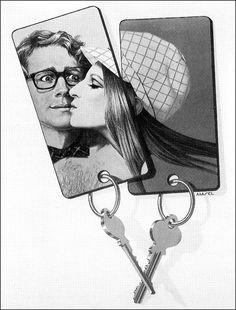 Richard Amsel's unused promotional art for What's Up, Doc? (1972) starring Barbra Streisand & Ryan O'Neal