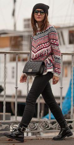 Multi Knit Jacquard Fringe Accent Pullover #Lovely Pepa