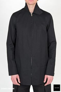 Woven coat TE 09 BLACK Cotton Spandex Body lining Cotton Sleeves lining Cupro Rick Owens - Walrus - Made in Italy Model is wearing size He is chest Pea Coat, Rick Owens, Patches, Bomber Jacket, Model, Sleeves, How To Wear, Cotton, Jackets