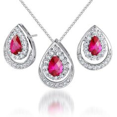 Classic Beauty 3.50 carats Pear Checkerboard Shape Created Ruby Pendant Earrings Set in Sterling Silver Rhodium Finish . $74.99