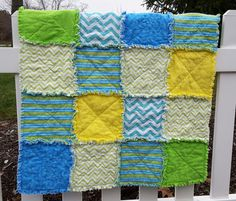Cozy Baby Rag Quilt flannel reversible by TheNarrowStaircase