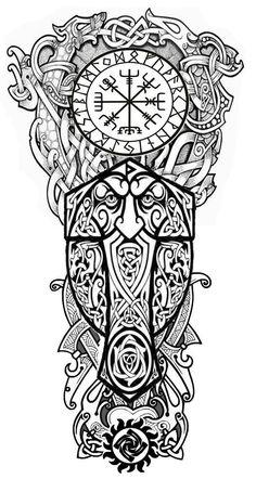 Viking Tribal Tattoos, Viking Tattoo Sleeve, Norse Tattoo, Full Sleeve Tattoos, Viking Tattoo Design, Celtic Tattoos, Tattoo Sleeve Designs, Viking Warrior Tattoos, Scandinavian Tattoo