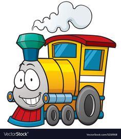 Illustration of Vector illustration of cartoon train vector art, clipart and stock vectors. Train Clipart, Train Vector, Car Drawings, Cartoon Drawings, Zug Illustration, Train Cartoon, Train Drawing, Transportation Theme, Train Art