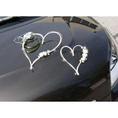 2 coeurs rotin et fleurs ivoire - decoration voiture mariage