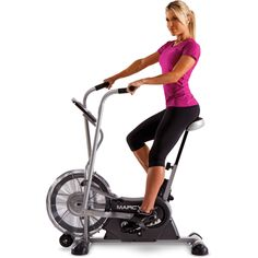 Upright Exercise Fan Bike Home Gym Workout Cardio Sports Fitness Taining Stationary Bike Dual Action Arms Work The Upper Body Fan Flows Air Past The Body Adjustable Seat 48.00 x 25.00 x 48.00 Inches. Get an outdoor cycling experience right at your home with the exercise fan bike. With dual action arms, this fan bike can give your upper body a great workout and at the same time keep you cool and comfortable. This dual action fan bike with foam covered handle bars, high density foam seat…