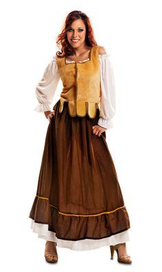 Vista principal del disfraz de mesonero con chaleco en talla M-L