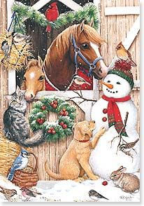 A Stable Visitors decorative Christmas flag showing two horses in the barn looking out the door. Outside the barn is a snowman with birds on him, a pup, cat Christmas Scenes, Noel Christmas, Vintage Christmas Cards, Country Christmas, Christmas Pictures, Winter Christmas, Christmas 2017, Christmas Garden, Xmas