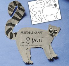 Free printable Lemur craft for Rainforest theme, tints and patterns-- Madagascar study Rainforest Preschool, Rainforest Classroom, Rainforest Crafts, Jungle Crafts, Rainforest Theme, Rainforest Animals For Kids, Reptiles Preschool, Preschool Crafts, Preschool Activities