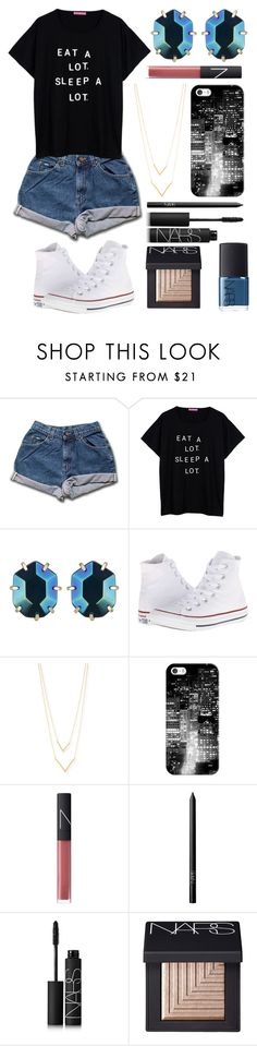"""Eat a lot. Sleep a lot."" by emmacaseyyyy ❤ liked on Polyvore featuring Kendra Scott, Converse, Jennifer Zeuner, Casetify and NARS Cosmetics"