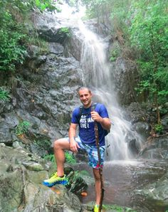 Hiking the Reef Bay Trail - great waterfall developed after a good rain (Tropical Storm Bertha) passed by St John