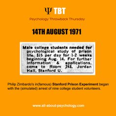 Philip Zimbardo's in(famous) Stanford Prison Experiment began. #psychology #tbt