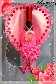 Декор предметов День рождения Цумами Канзаши Декор бутылок НА РОЖДЕНИЕ девочки Бутылки стеклянные Клей Ленты фото 4