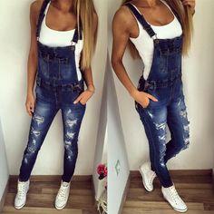 Women's Fashion Overalls Ripped Suspender Denim Jeans