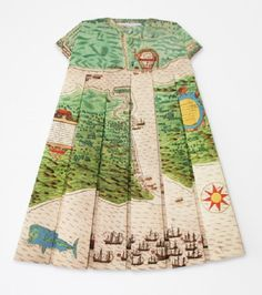Paper maps folded into dresses.  Les robes géographiques, Pierre Verte, Rubis Rouge,  Voyage of Sir Francis Drake Saint, Augustine map rep. 1585  By Elisabeth Lecourt, 2012, price on request.