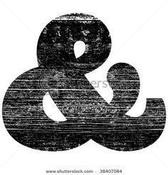grunge ampersand alphabet symbol design