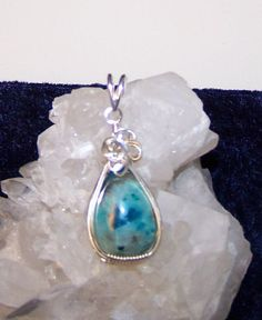 Sterling Silver Chrysocolla in Quartz Cabochon by Sapphireskies, $75.00