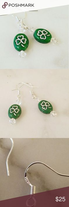 Shamrocks& Crystals Earrings .925 Sterling Silver hooks with beautiful handmade green glass shamrock beass  with brilliantly bright Swavorski Crystals.   Magen's Fairytale Creations original handmade by me. Magen's Fairytale Creations Jewelry Earrings