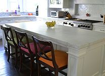 Billings Carpentry & Construction Christopher Peacock Kitchen White Marble counters, Remains lighting pendants