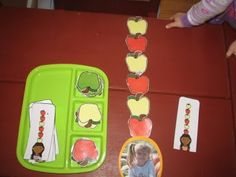 Cute patterning idea... tot trays, books, fruit, school, pattern, ten appl, mac, october, 10 apples up on top activities
