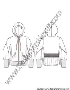 Jacket Flat Sketch V1 of Zip Front Hoodie with Back Smocking Detail, Tall Rib Cuffs and Side Panels.