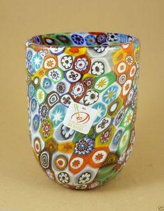 NEW MURANO MILLEFIORI TUMBLER GLASS VASE ITALIAN ART GLASS MADE IN VENICE  iandrtravel  ebay.com