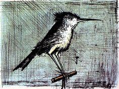 Barnard Buffet The Little Bird, Lithograph, 1964. I love art with birds!