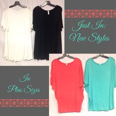 Yes! We have plus sizes! These new tops are light and flowy and perfect for the summer! Pair them with a cute skirt or your favorite shorts for your go-to summer outfit! Both styles are available in the colors you see below.