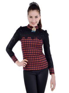 Anna-Kaci S/M Fit Black Red Plaid Neck Brooch Laced Nightly Long Sleeve Blouse Anna-Kaci. $36.90