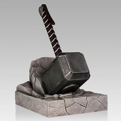 Whosoever holds this Thor Hammer Bookend, if he be worthy, shall possess the power to keep their books, DVDs, and Blu-ray discs neatly organized. Marvel Universe, Marvel Cake, Thor Cake, Avengers, Nerd Cave, Man Cave, Thors Hammer, Loki Thor, Gentle Giant