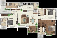 Floor Plan of 2-3 BHK apartments by Gera Developments Kharadi Pune