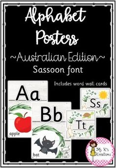 Alphabet posters in a beautiful, calming Australian animals theme. This pack includes all 26 letters with a matching picture for each sound (letter x uses an ending sound). Sassoon font has been used on the posters. This product is not editable. If you interested in a complete Australian animals déc... Alphabet Posters, 26 Letters, Australian Animals, Calming, Phonics, Lettering, Words, Pictures, Beautiful