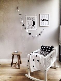 Black and White nursery inspiration Baby Bedroom, Baby Boy Rooms, Baby Cribs, Nursery Room, Kids Bedroom, Deer Nursery, Monochrome Nursery, White Nursery, Nursery Neutral