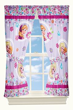 Disney Frozen Blooms Microfiber Drapes, 82 by Disney's Frozen Blooms x Drapes feature Anna and Elsa on a floral ground. rod pocket, tie-backs included. Made of polyester microfiber. Disney Frozen Bedroom, Frozen Room, Frozen Kids, Princess Curtains, Princess Room, Girls Room Curtains, Window Curtains, Bedroom Girls, Kids Bedroom Accessories