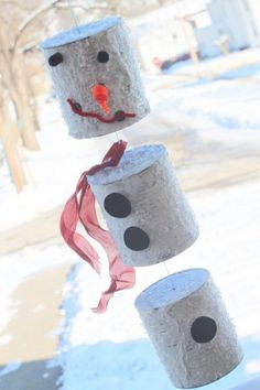 Tin can snowman wind chime craft for kids to make