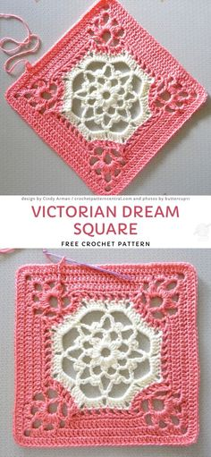 Lacy Crochet Squares Free Crochet Patterns. Are you looking for a fast, easy and elegant crochet pattern which gives you a chance to make a square of a day, this project is for you. The link to the free pattern is below. #freecrochetpattern #lacy #square