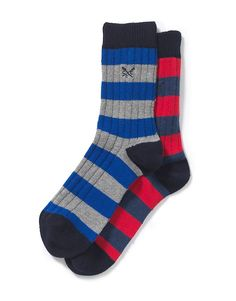 Men's Rugby Stripe Socks in Red/Marine from Crew Clothing