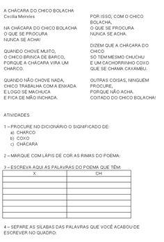 A Chacara do Chico Bolacha - poesia e ortografia - Ch ou X