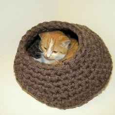 Cat Nap Cat Cocoon Cat Cave Cat Bed Cat House - Crochet acrylic yarn Cozy Crisp Contemporary Design Brown - READY TO SHIP