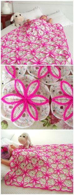 Gorgeous crochet pattern for this floral blanket. Pattern is for baby sized blan… Gorgeous crochet pattern for this floral blanket. Pattern is for baby sized blanket, but this could be made in any size. I want to crocht this and have it on MY bed! Crochet Diy, Crochet Motifs, Crochet Squares, Crochet Crafts, Yarn Crafts, Crochet Projects, Ravelry Crochet, Beginner Crochet, Crochet Mandala